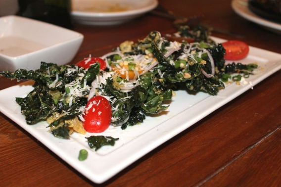 Fried Tuscan Kale with pine nuts, tomatoes, and Parmigiano Reggiano
