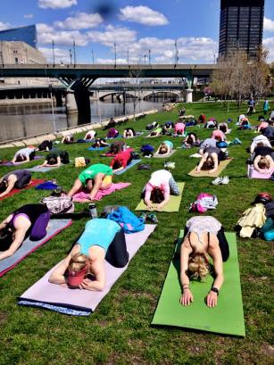 Photo courtesy of Yoga on the Banks Facebook!
